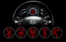 Kia Rio 4-door Interior Supervision cluster with trip computer